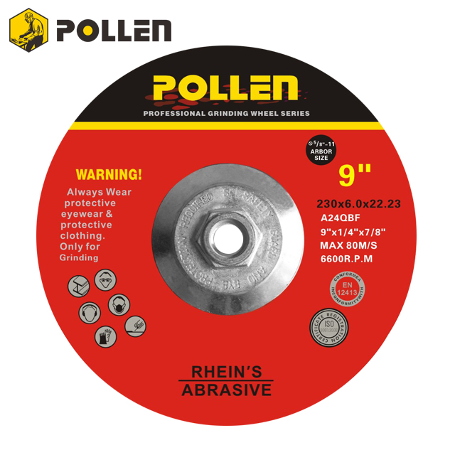 "9Inch, Pollen Hubbed Grinding Disc, 5/8""-11 Arbor Hole, 24 Grit,10Pack"